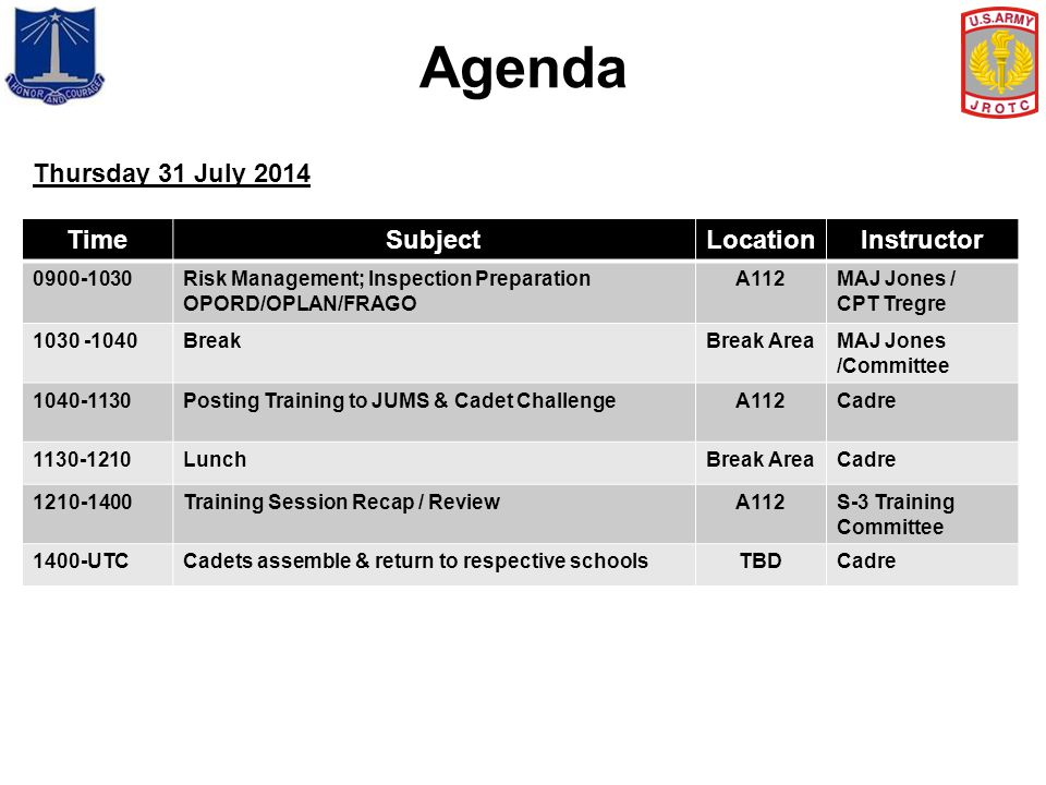 Agenda Thursday 31 July 2014 Time Subject Location Instructor