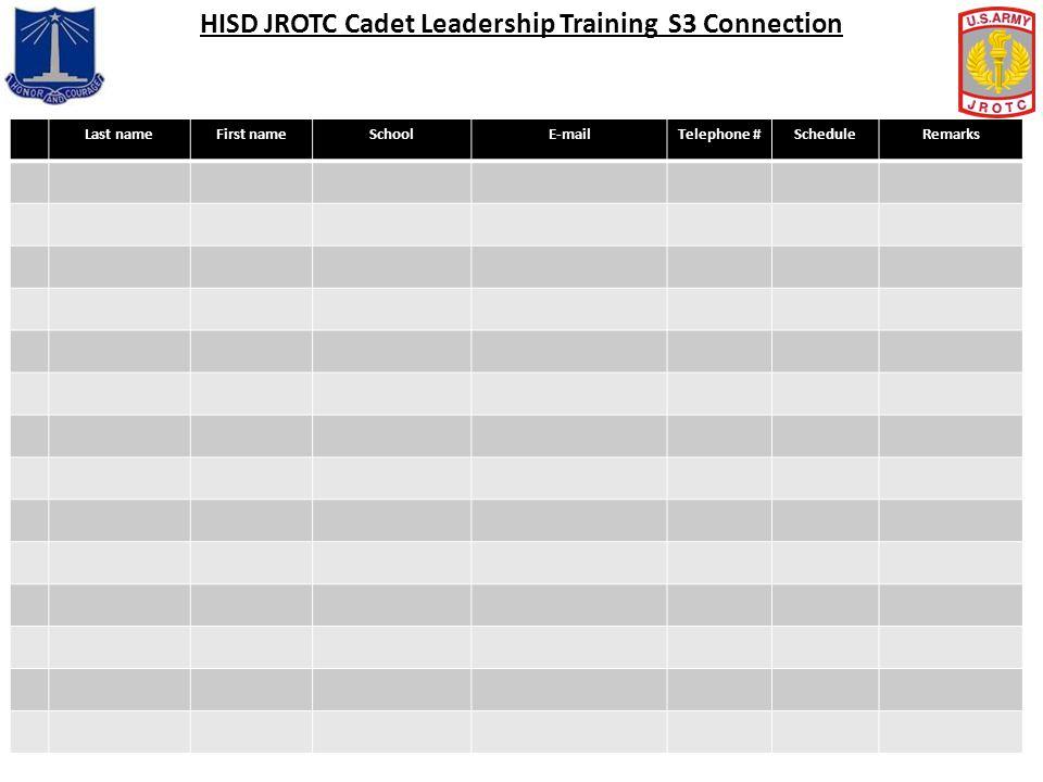 HISD JROTC Cadet Leadership Training S3 Connection