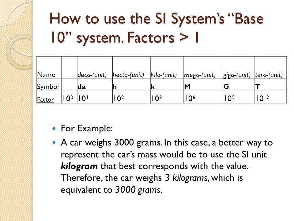 How to use the SI System's Base 10 system. Factors > 1