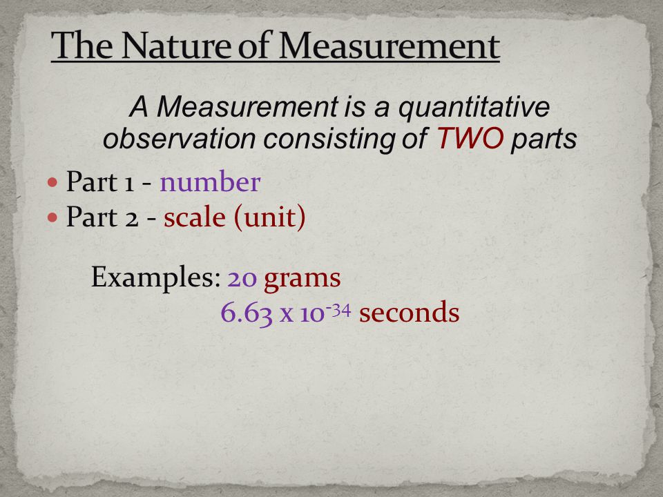 The Nature of Measurement