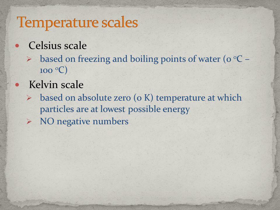 Temperature scales Celsius scale Kelvin scale