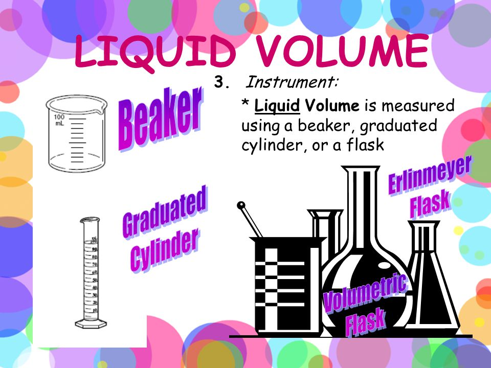 LIQUID VOLUME Beaker Erlinmeyer Flask Graduated Cylinder Volumetric