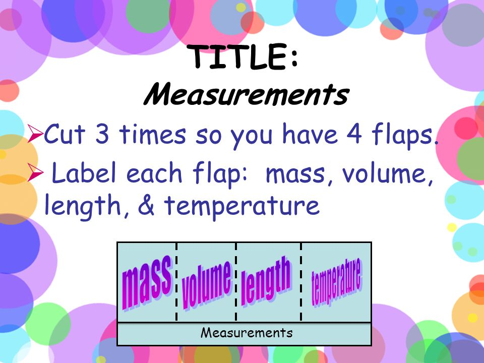TITLE: Measurements Cut 3 times so you have 4 flaps.