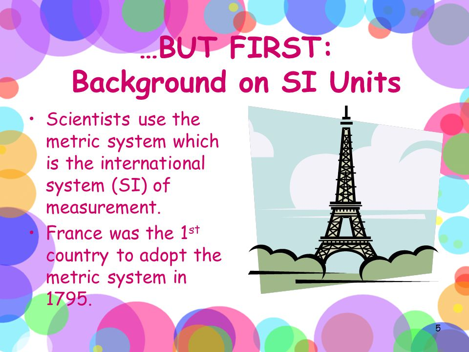 …BUT FIRST: Background on SI Units