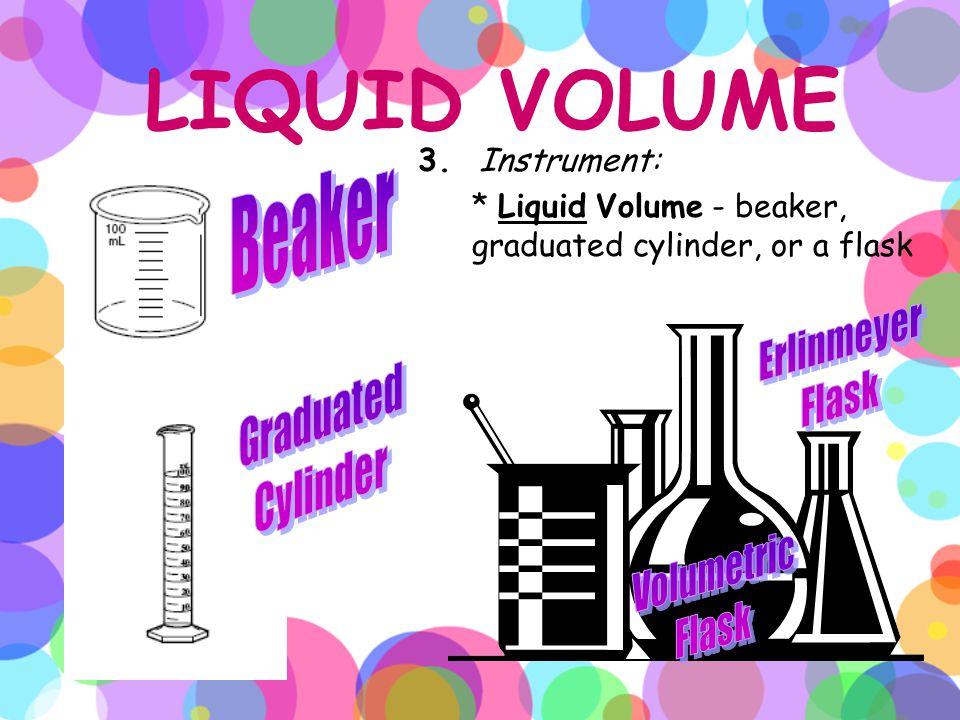 LIQUID VOLUME Beaker Erlinmeyer Flask Graduated Cylinder Volumetric