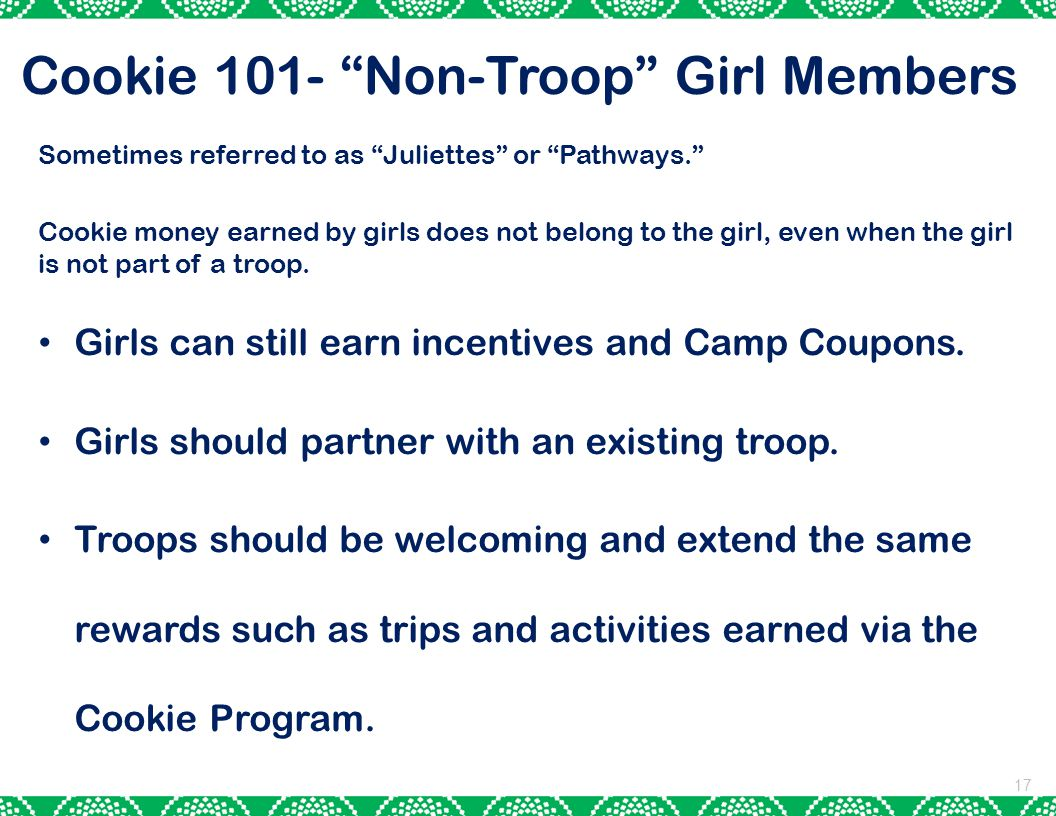 Cookie 101- Non-Troop Girl Members