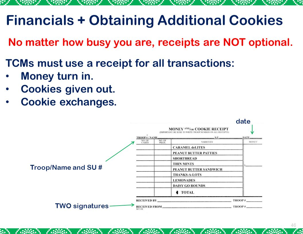 Financials + Obtaining Additional Cookies