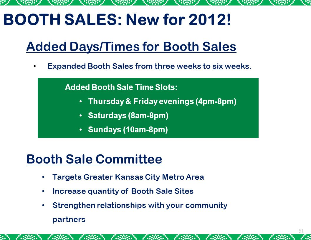 BOOTH SALES: New for 2012! Added Days/Times for Booth Sales