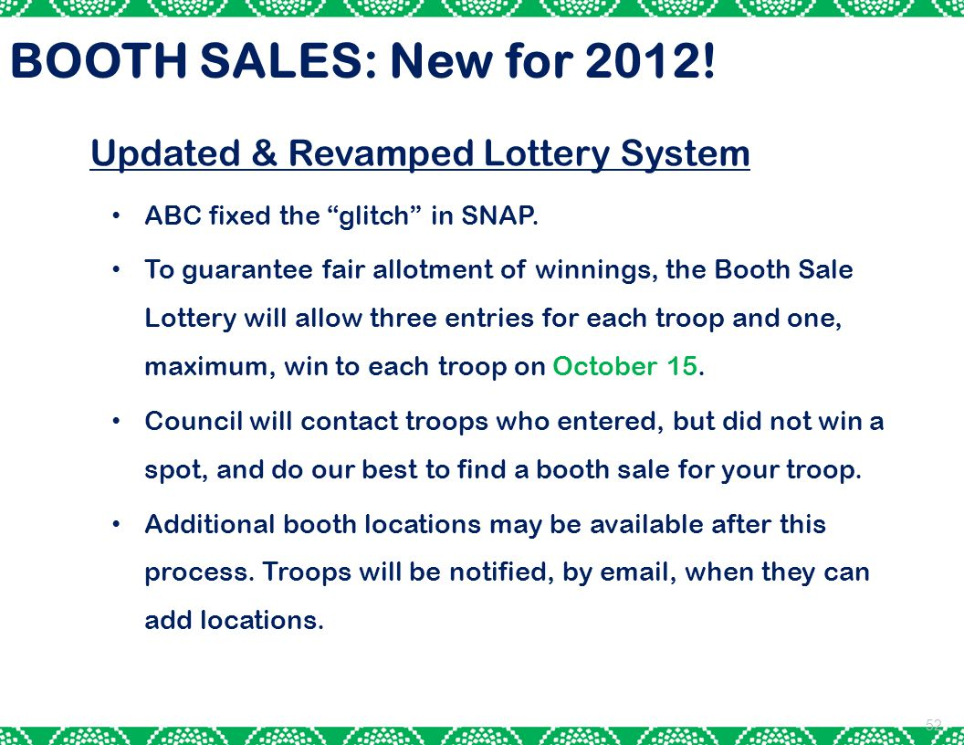 BOOTH SALES: New for 2012! Updated & Revamped Lottery System