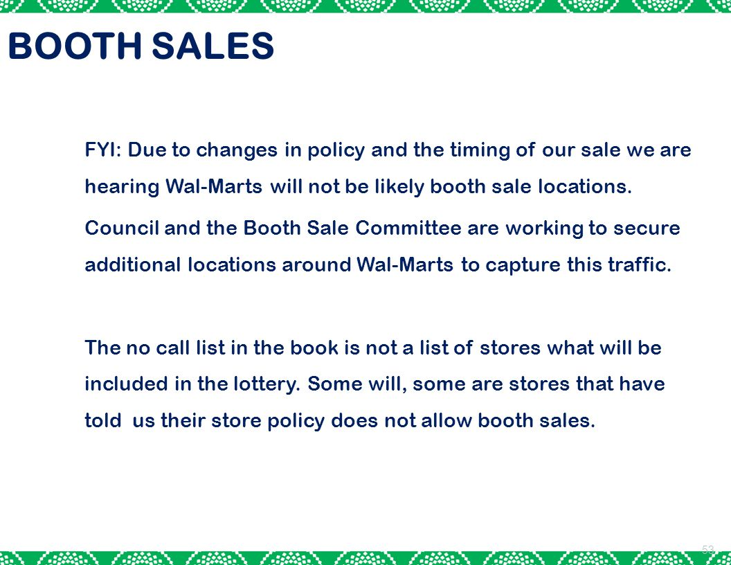 BOOTH SALES FYI: Due to changes in policy and the timing of our sale we are hearing Wal-Marts will not be likely booth sale locations.