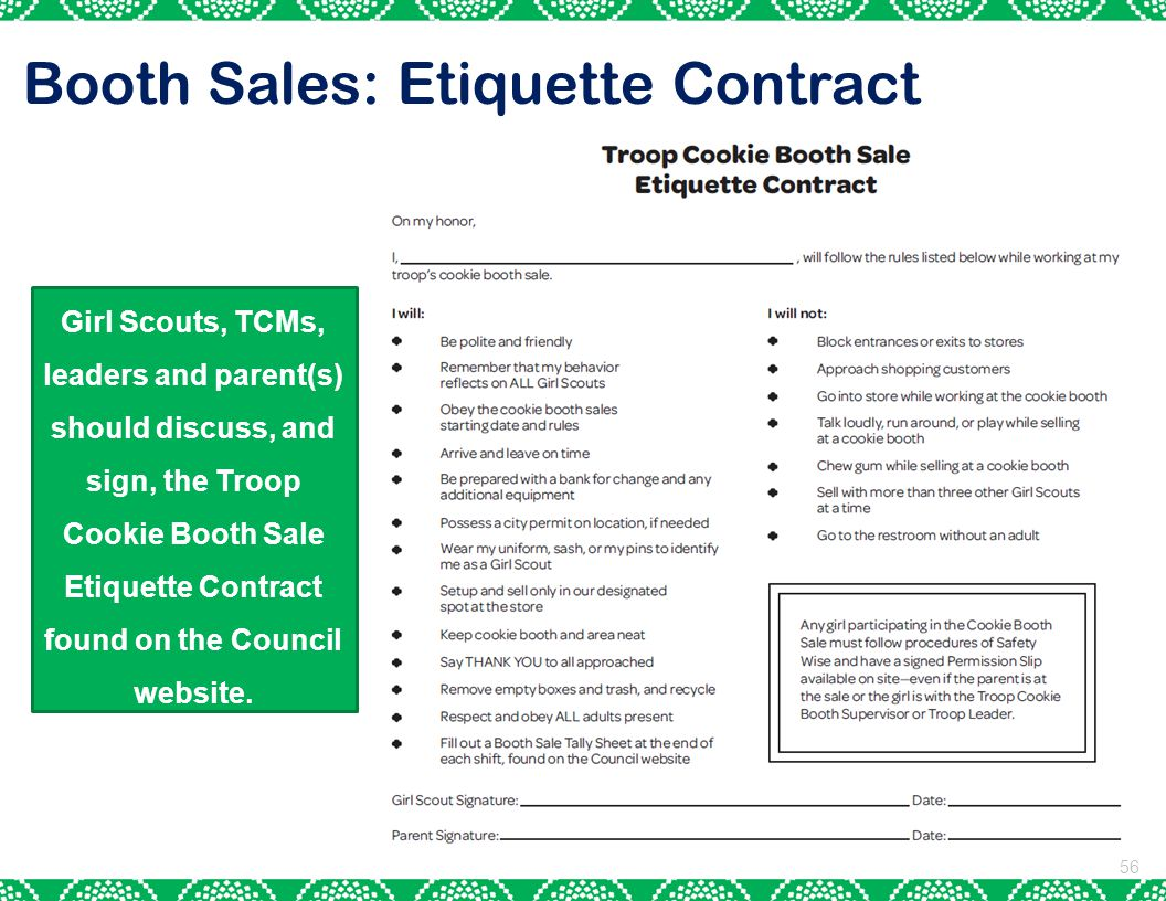 Booth Sales: Etiquette Contract