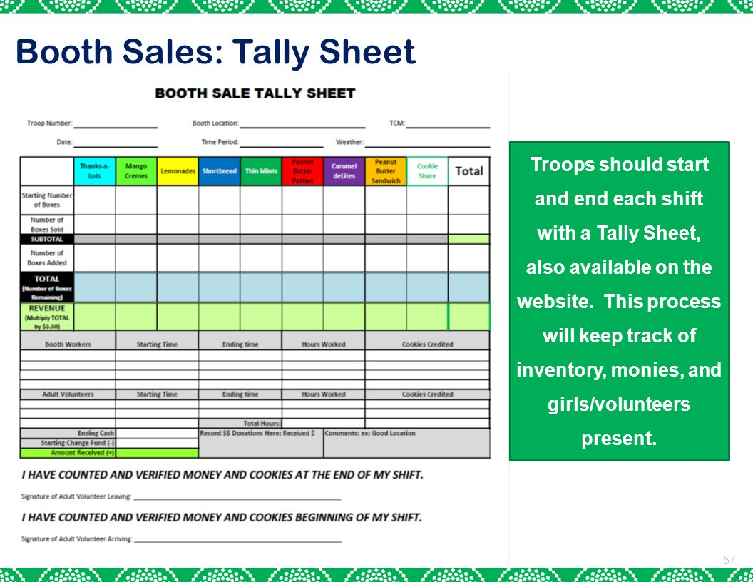 Booth Sales: Tally Sheet