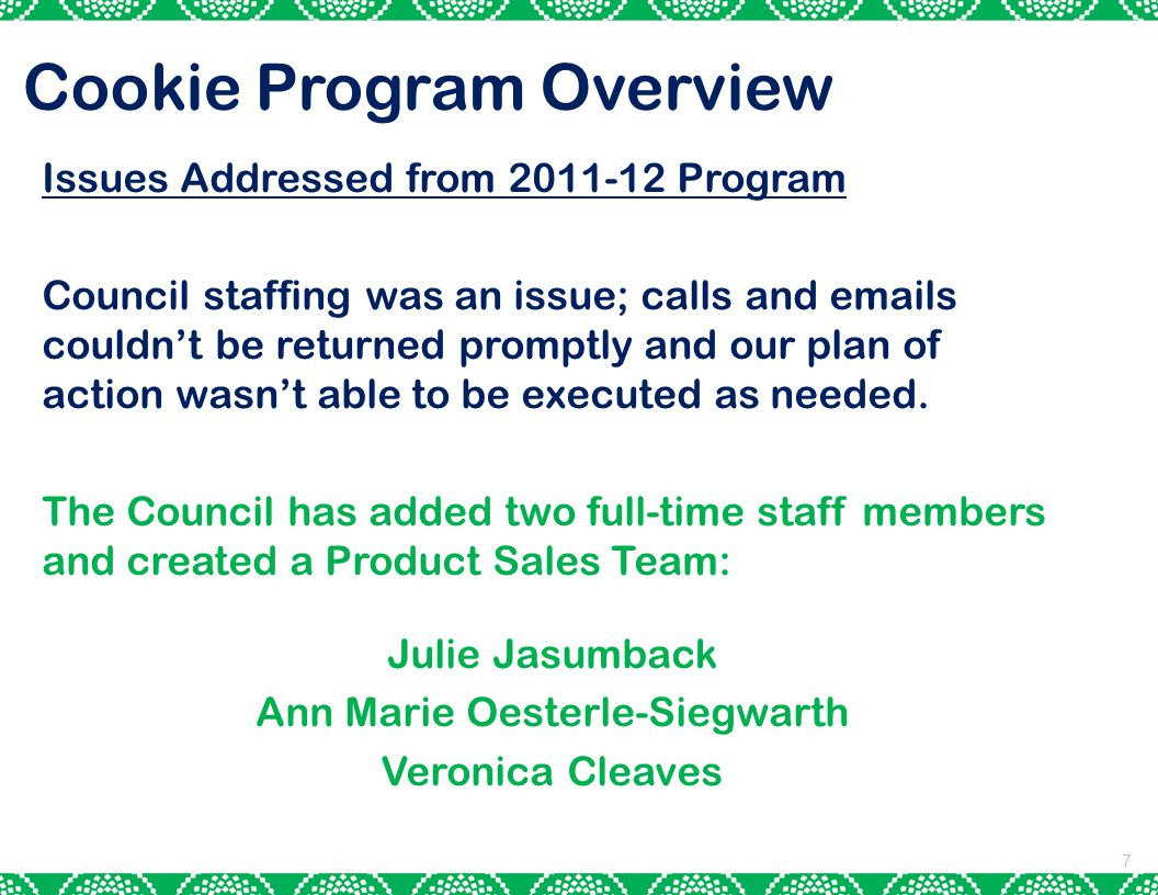 Cookie Program Overview