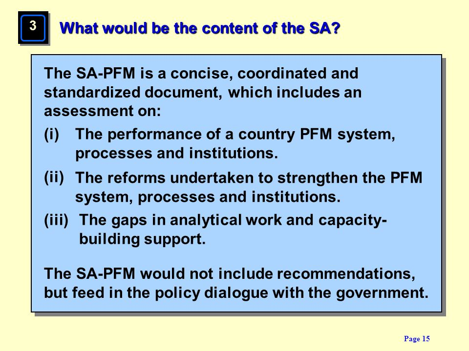 What would be the content of the SA