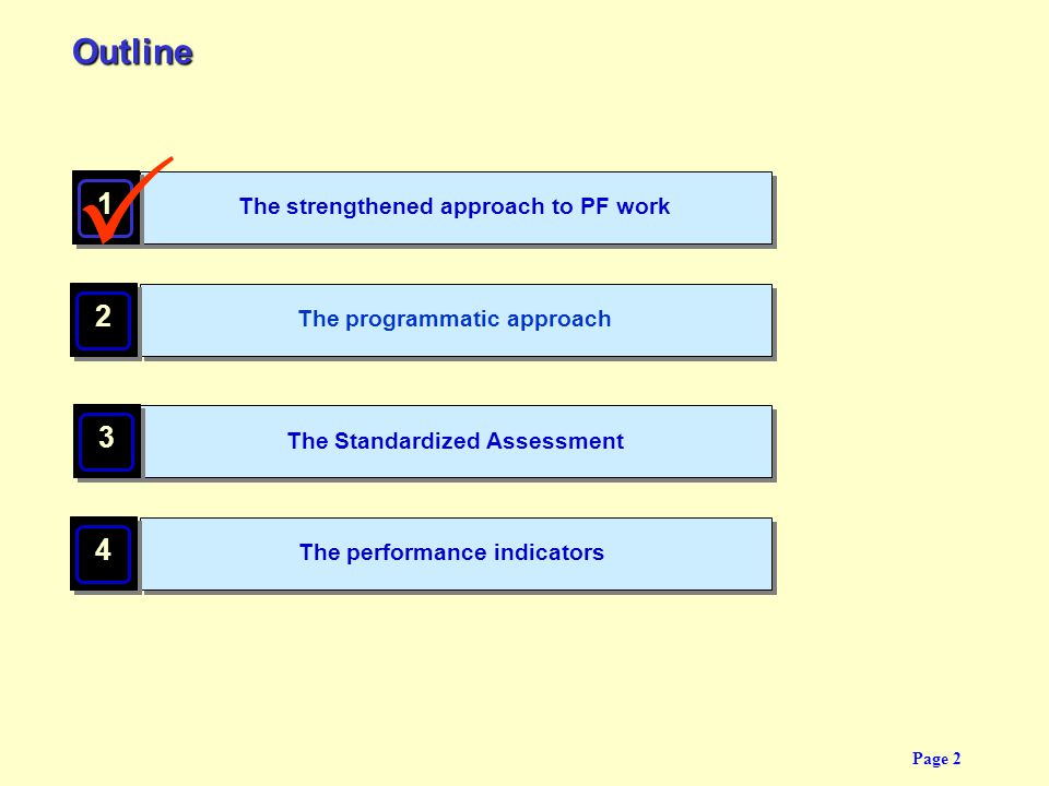 P Outline 1 2 3 4 The strengthened approach to PF work