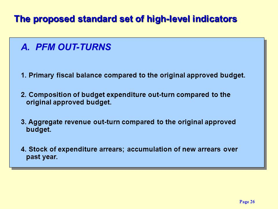 The proposed standard set of high-level indicators