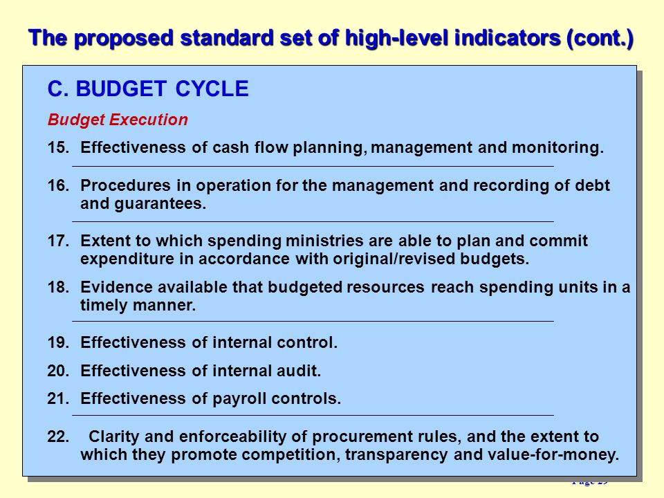 The proposed standard set of high-level indicators (cont.)