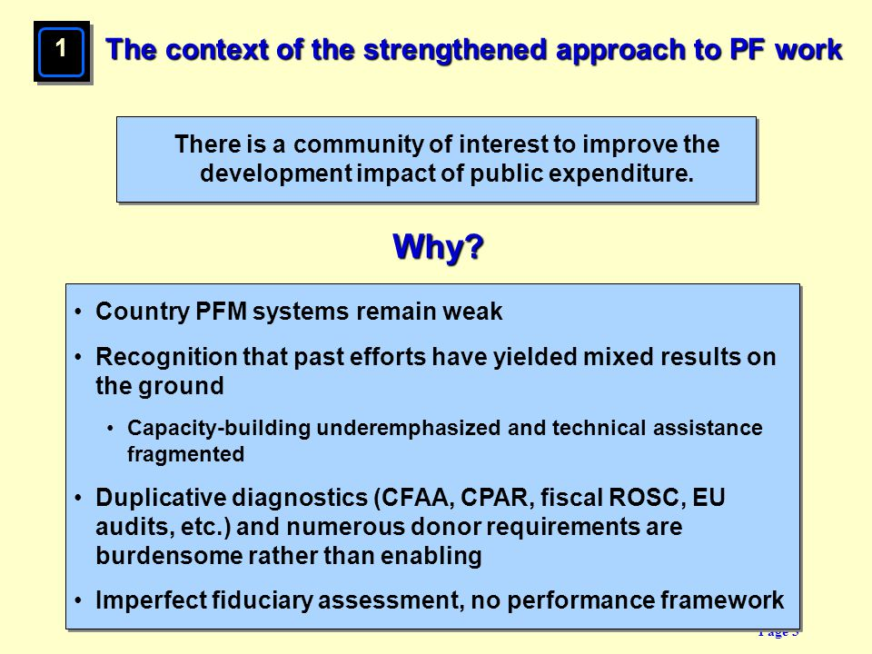 Why The context of the strengthened approach to PF work 1