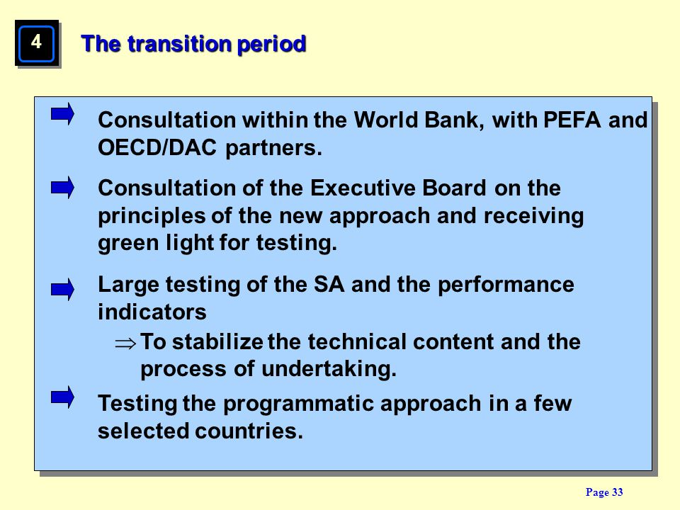 Consultation within the World Bank, with PEFA and OECD/DAC partners.