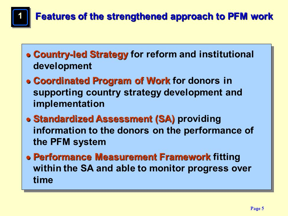 Features of the strengthened approach to PFM work