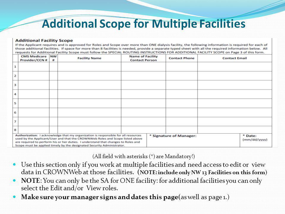 Additional Scope for Multiple Facilities