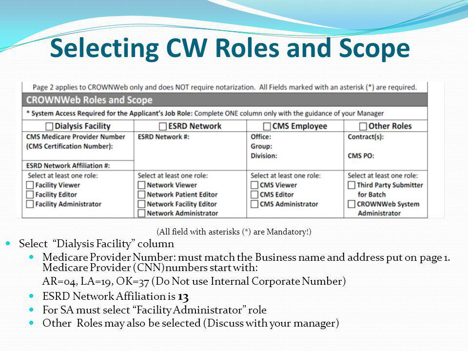 Selecting CW Roles and Scope
