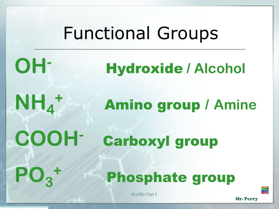 OH- Hydroxide / Alcohol NH4+ Amino group / Amine COOH- Carboxyl group
