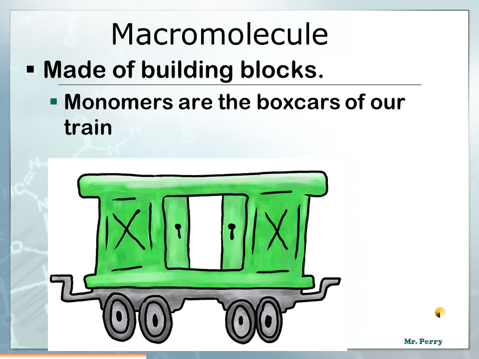 Macromolecule Made of building blocks.