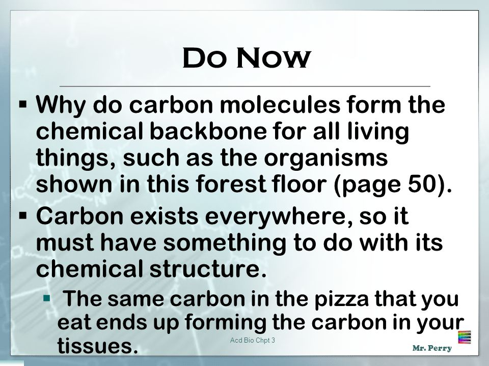 Do Now Why do carbon molecules form the chemical backbone for all living things, such as the organisms shown in this forest floor (page 50).