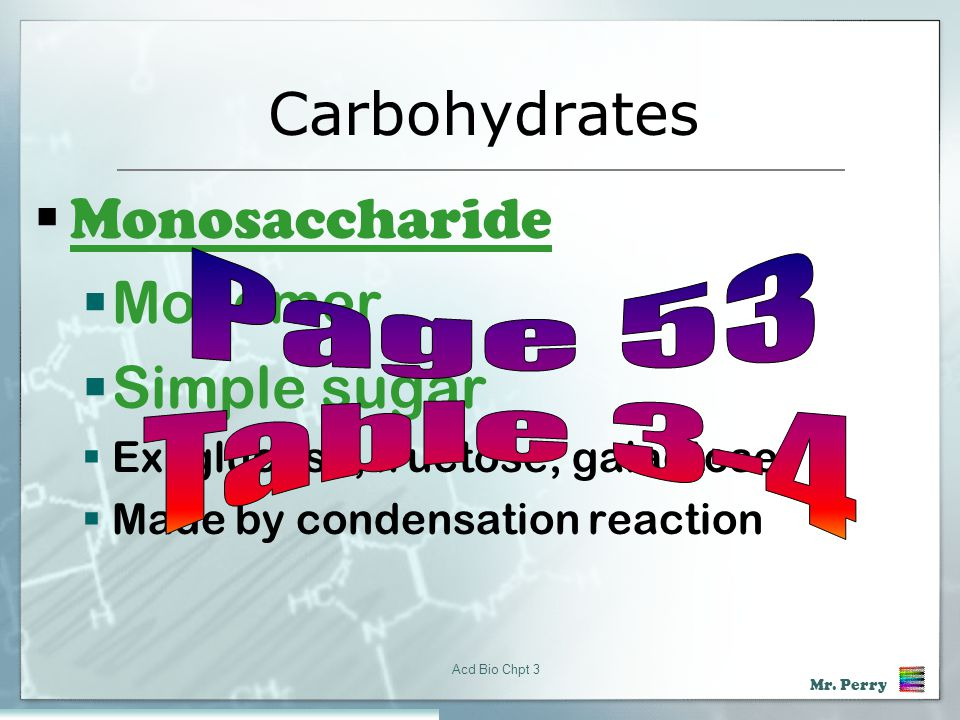 Carbohydrates Monosaccharide Monomer Simple sugar Page 53 Table 3-4