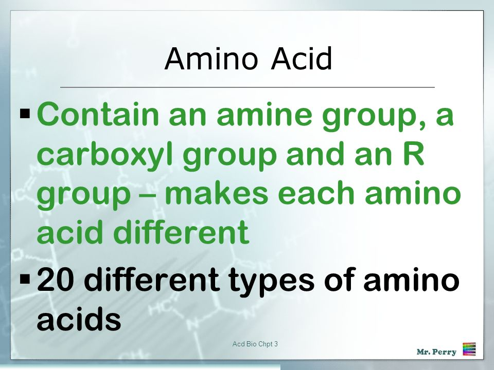 20 different types of amino acids