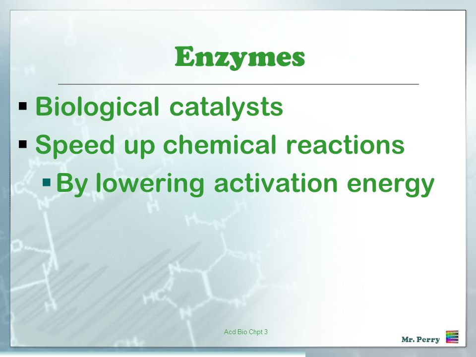 Enzymes Biological catalysts Speed up chemical reactions