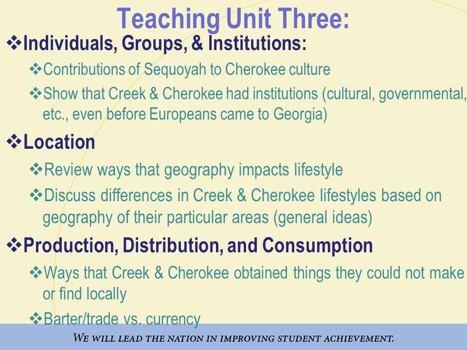 Teaching Unit Three: Individuals, Groups, & Institutions: Location
