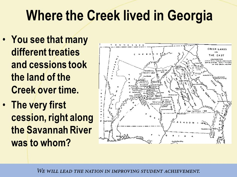 Where the Creek lived in Georgia