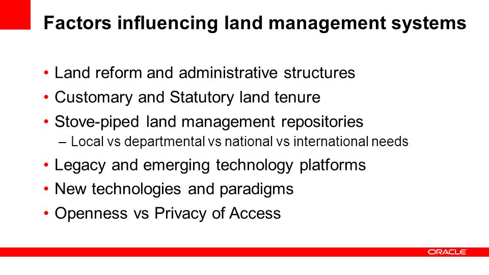 Factors influencing land management systems