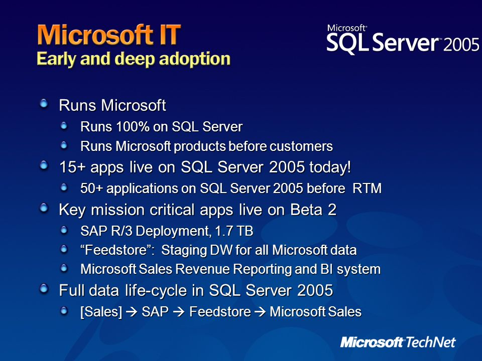 15+ apps live on SQL Server 2005 today!