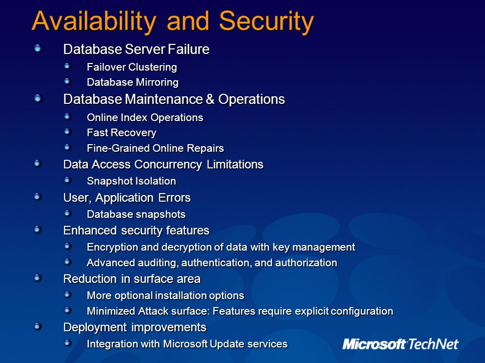 Availability and Security