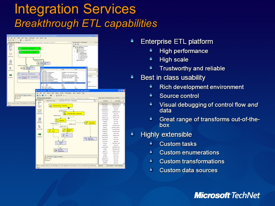 Integration Services Breakthrough ETL capabilities