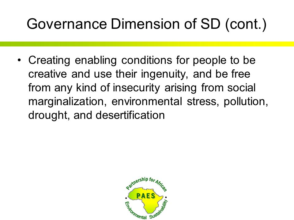 Governance Dimension of SD (cont.)