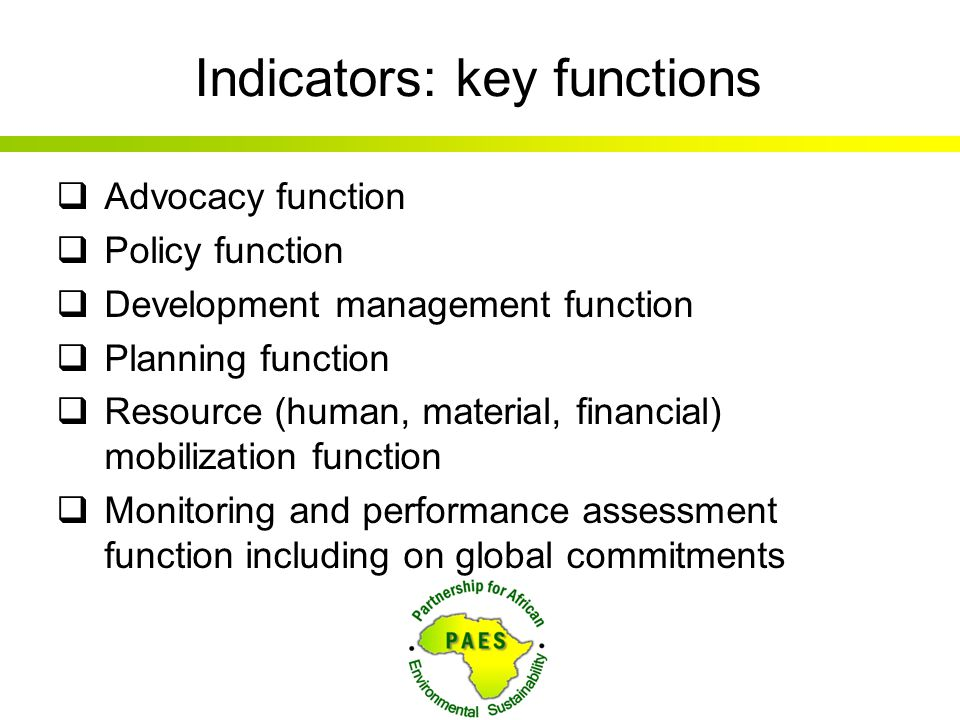 Indicators: key functions