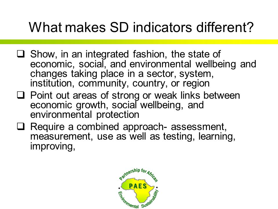 What makes SD indicators different