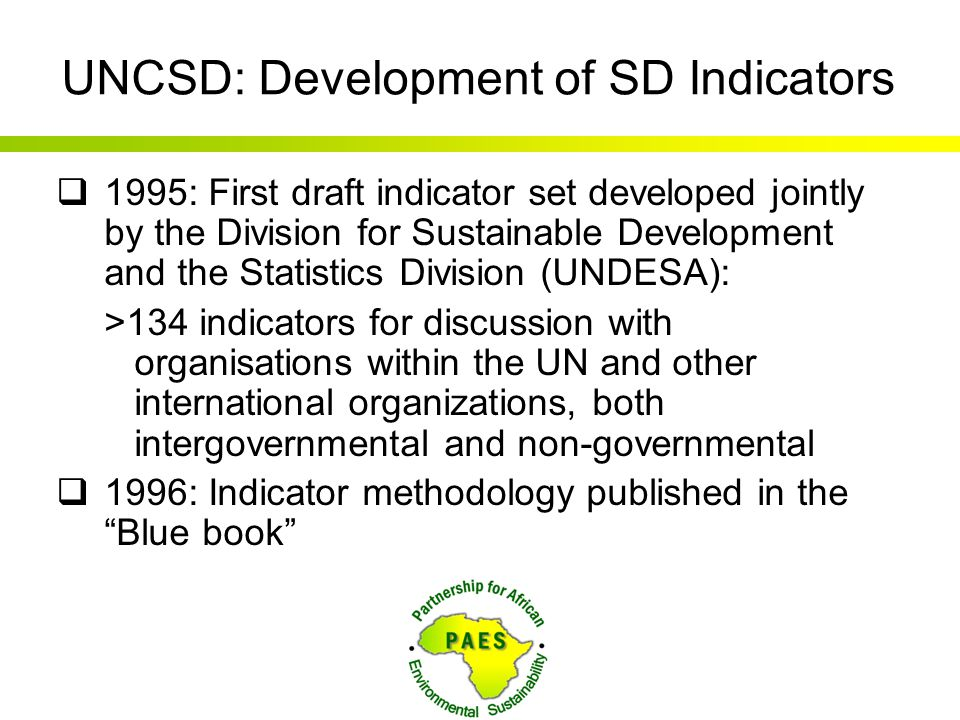 UNCSD: Development of SD Indicators