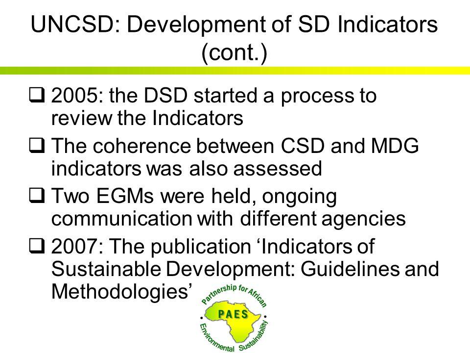 UNCSD: Development of SD Indicators (cont.)