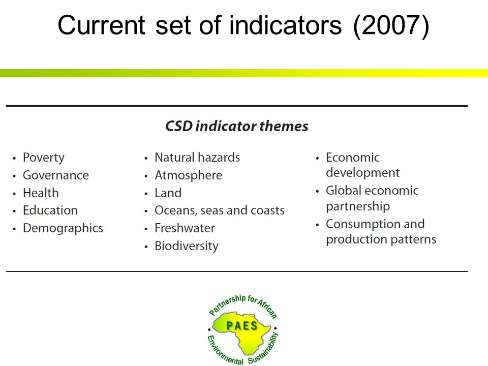Current set of indicators (2007)