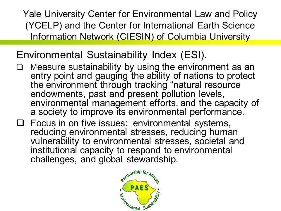 Environmental Sustainability Index (ESI).