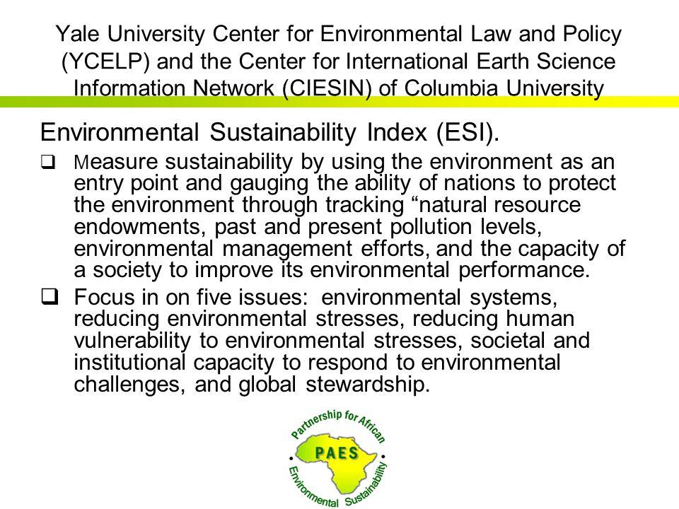 Environmental Sustainability Index (ESI).