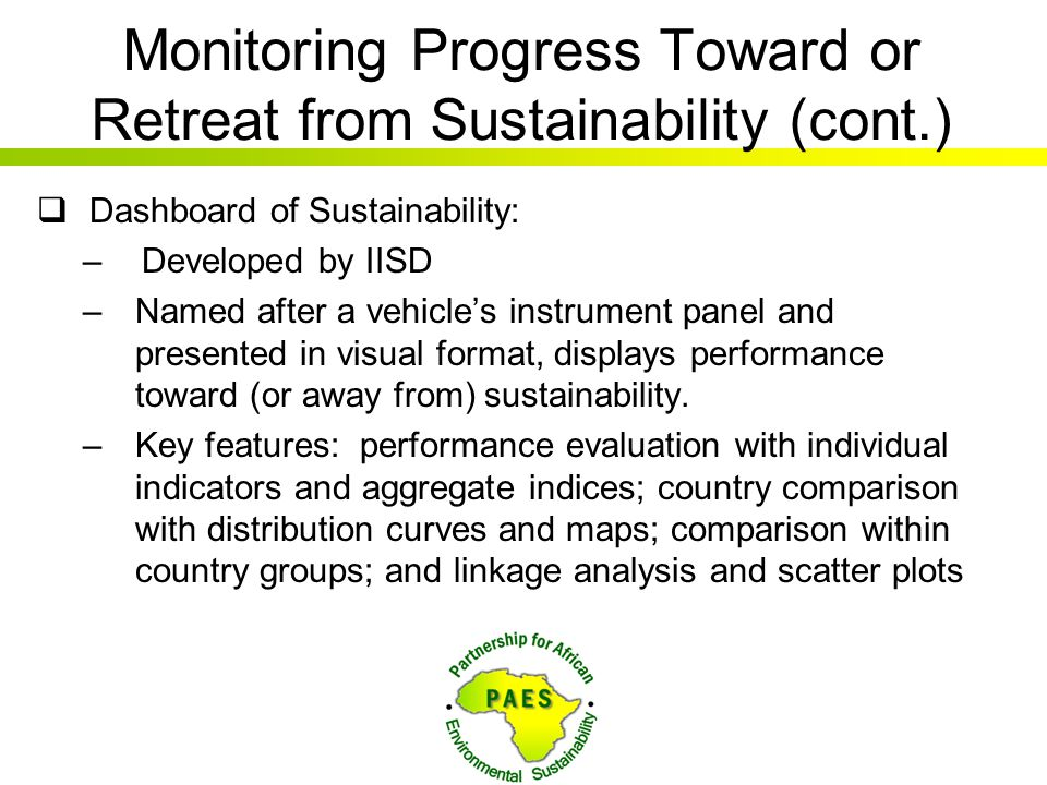 Monitoring Progress Toward or Retreat from Sustainability (cont.)