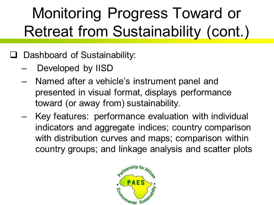 Monitoring Progress Toward or Retreat from Sustainability (cont.)