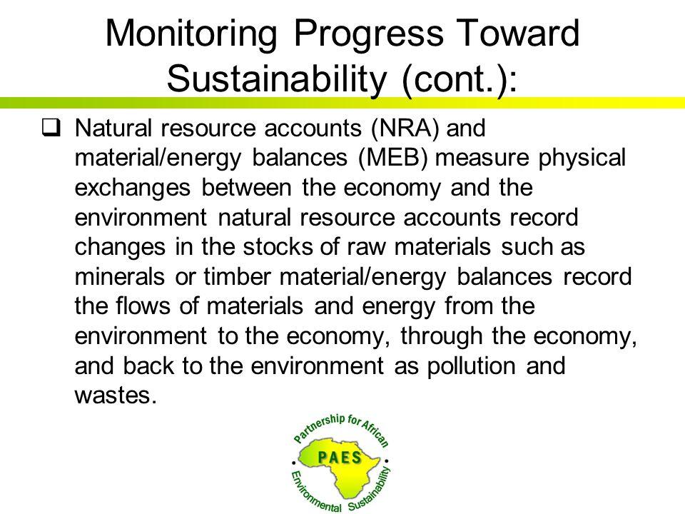 Monitoring Progress Toward Sustainability (cont.):
