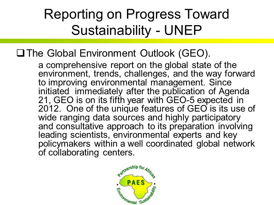 Reporting on Progress Toward Sustainability - UNEP